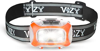 247 Viz LED Headlamp Motion Sensor - See The Road & Stay Safe - 2 Bright White & 2 Red Lights - Running, Hiking, Camping, Dog Walking Night Safety Kids - Lightweight Head Lamp Comfort