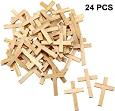 24 Pieces Natural Wooden Cross Wood Cross Pendants Mini Cross Beads for DIY Crafts Jewelry Making (Color 1)