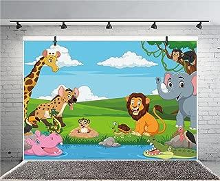 Leyiyi 8x6ft Photography Background Cartoon Birthday Backdrop Children's Room Wallpaper Zoo Zebra Elephant Lion Dragon Monkey Grassland Mountain Pool Baby Shower Photo Portrait Vinyl Studio Video Prop