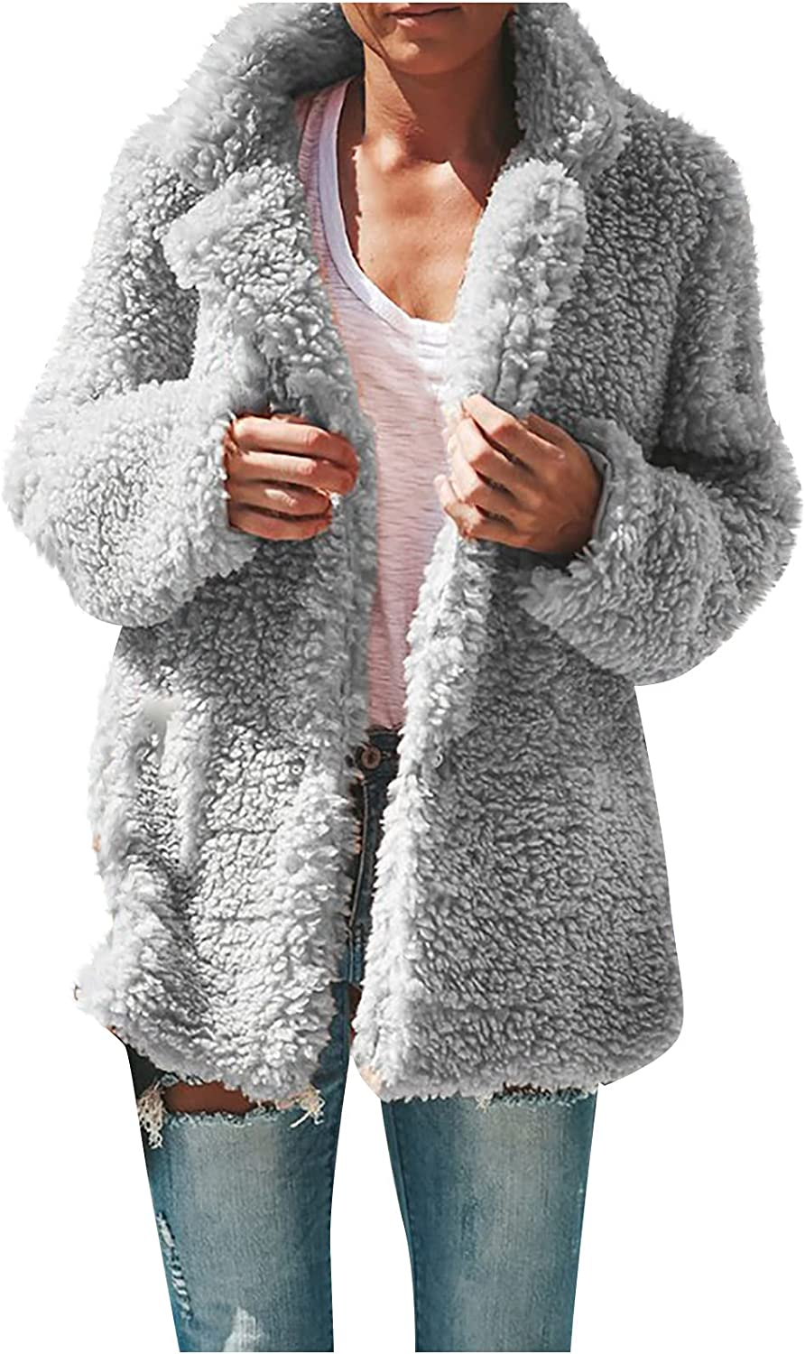 Womens Winter Hooded Fuzzy Faux Coat Casual Plus Size Plush Open Front Cardigan Solid Outdoor Jacket Warm Short Outwear