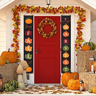 FHzytg Happy Fall Y'all Fall Porch Sign-Fall Decorations Outdoor Indoor-Happy Fall Y'all Harvest Banner Sign Front Door Fall Autumn Thanksgiving Decor
