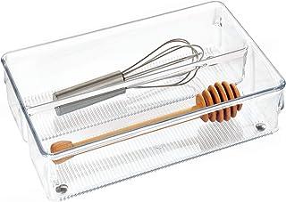 منظم أدراج المطبخ Linus من InterDesign لأدوات الفضية، والملاعق، والأدوات - 15.24 سم × 22.86 سم × 5.08 سم، شفاف