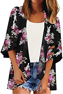 d122653a3 FNKDOR Spring Fashion Women Lace Floral Open Cape Casual Coat Loose Blouse  Kimono Jacket Cardigan Tops