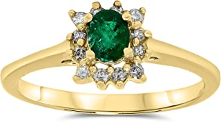 JewelryBliss 14k Yellow Gold Emerald and Diamond Halo Ring, Birthstone of May