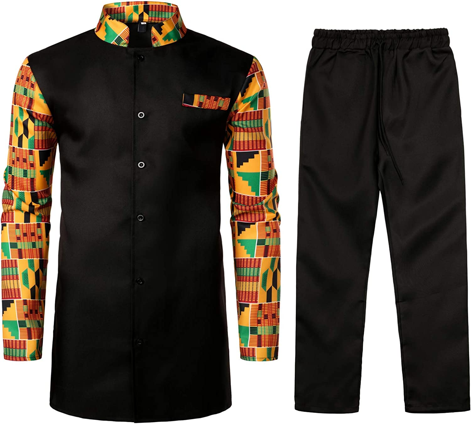 Large-scale sale Attention brand LucMatton Men's African 2 Piece Set Tops a Button up Sleeve Long