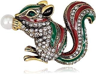 Hoveey - Spilla a Forma di Animale con squisita Scoiattolo, con Strass Bianchi, Stile Vintage, Creativa, per Compleanno, A...