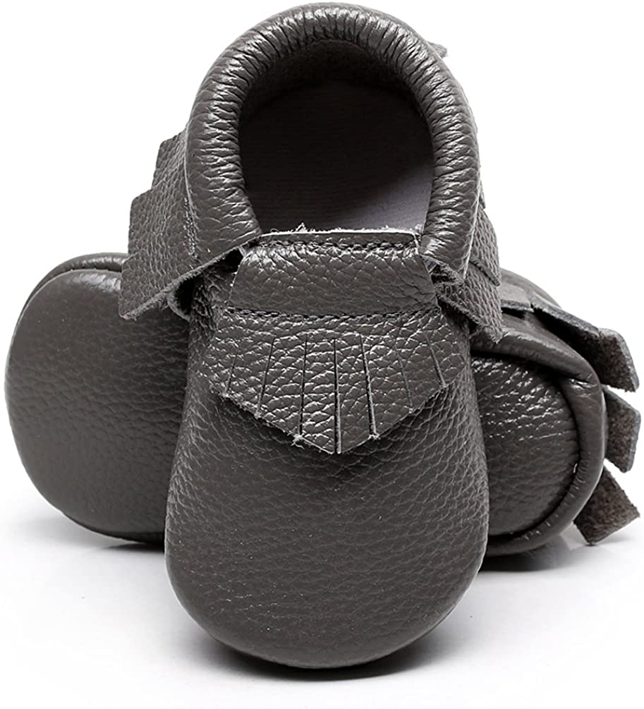 HONGTEYA Soft Sole Baby Moccasins - Premium Fringe Bow Leather Boys and Girls Shoes for Infant Toddlers