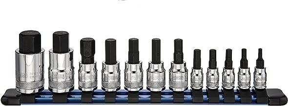 ARES 70108-12-Piece Metric Hex Bit Socket Set - Chrome Vanadium Sockets with S2 Alloy Bits - Includes Aluminum Socket Organizer