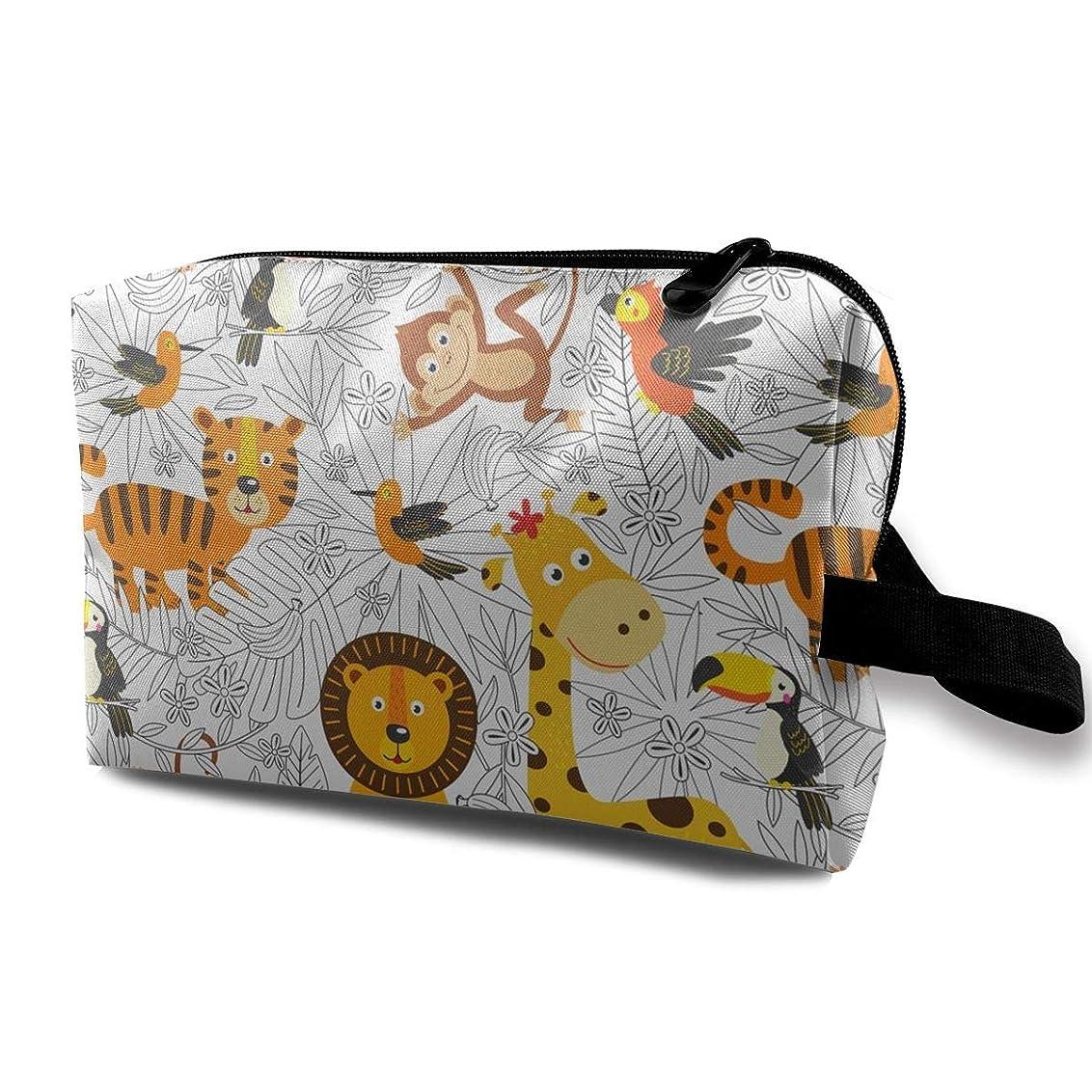 パターン提案類推化粧ポーチ トイレタリーバッグ トラベルポーチ 森の中の動物 防水耐震 大容量 収納ポーチ 出張 海外 旅行グッズ 男女兼用