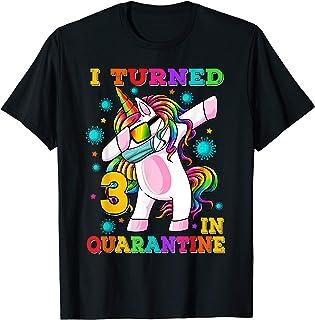 I Turned 3 In Quarantine Dabbing Unicorn 3rd Birthday T-Shirt