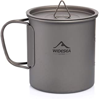 Widesea 450 ML Titanium Pot Cup Mug with Lid Foldable Handle for Outdoor Camping Picnic