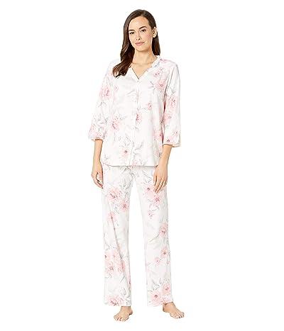 Carole Hochman Cotton Jersey 3/4 Sleeve Long Pajama Set (White Floral) Women