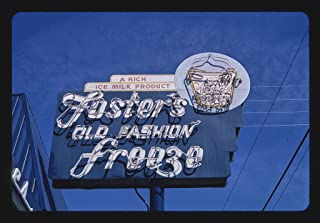 Vintography 16 x 24 Gallery Wrapped Framed Art Canvas Print of Foster's Old Fashion Freeze ice Cream Sign, Paso Robles, California 2003 Roadside Americana Ready to Hang 09a