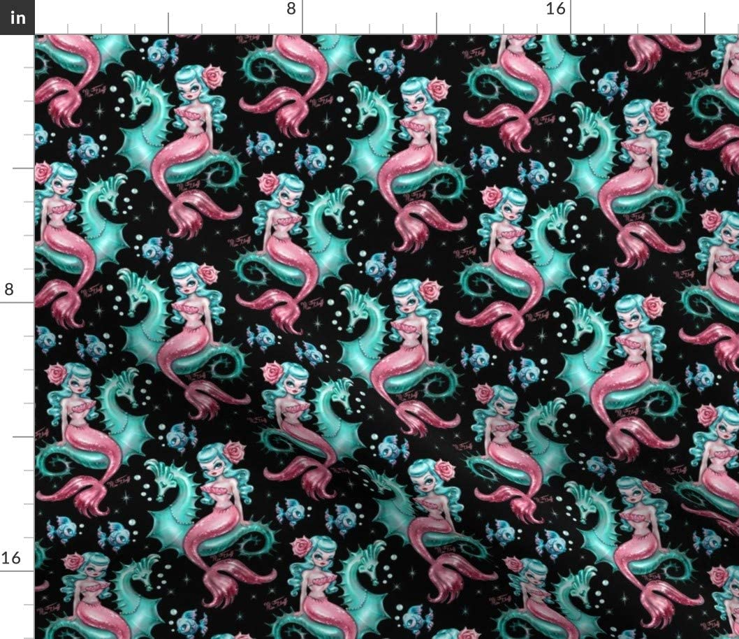 Spoonflower Fabric - Black Small Mermaids Retro 67% Shipping included OFF of fixed price Vintage Mermaid