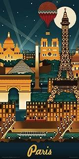 Culturenik Lantern Press Paris France Retro Skyline Illustrated Decorative Travel City Art Print (Unframed 12x24 Poster)