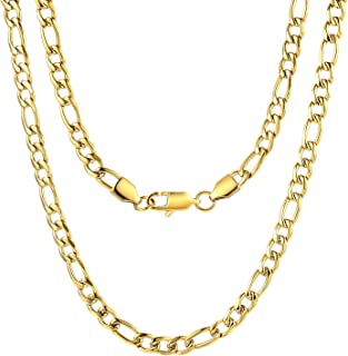 FOSIR 5MM Men Women 18k Real Gold Plated Figaro Chain Stainless Steel Necklace 18-30 Inches