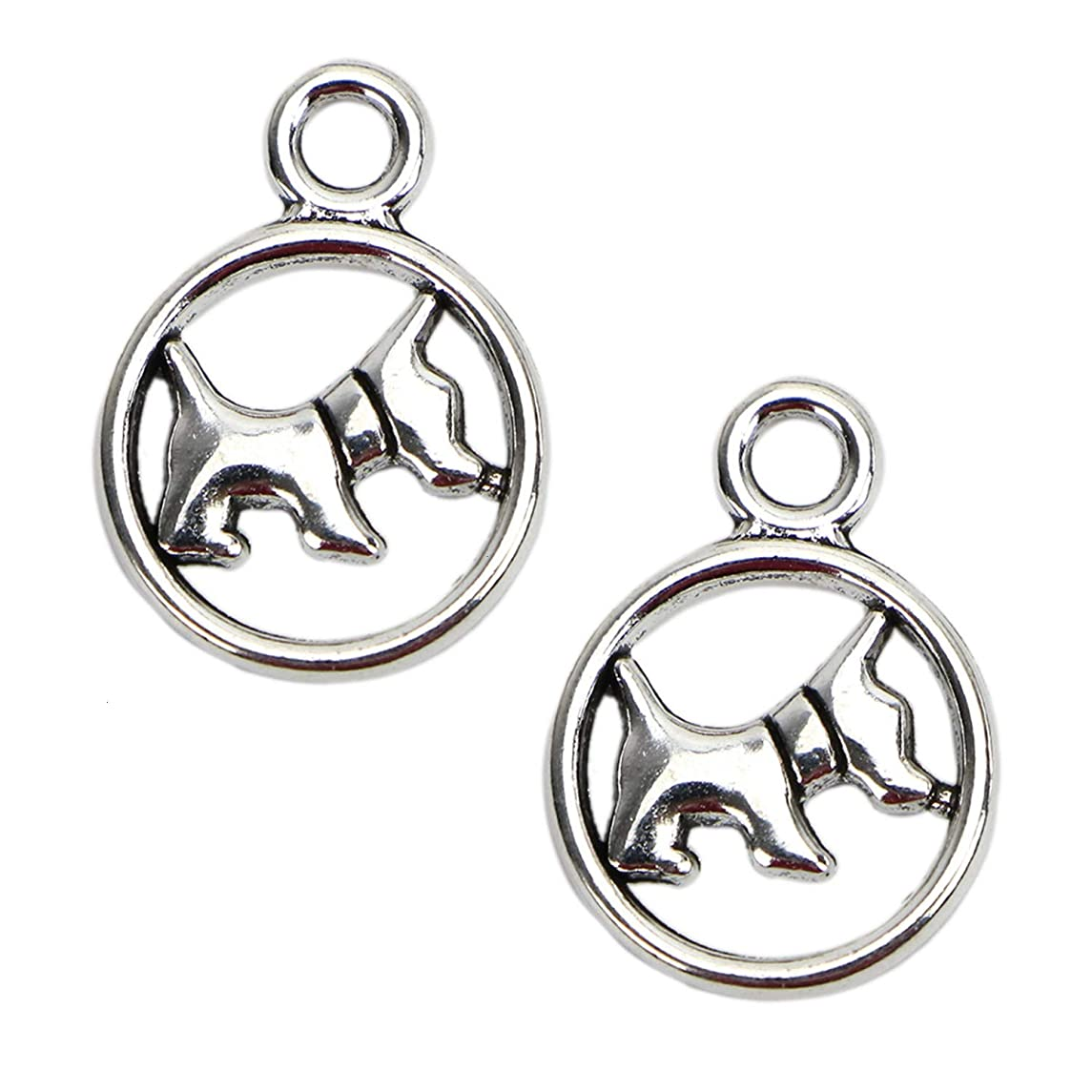 Monrocco 50pcs Scotty Dog Charms Pendants for Bracelet Necklace Jewelry Findings Antique Silver 19x13mm