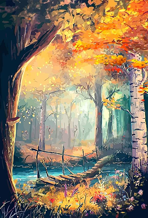 DIY 5D Diamond Painting Kit – Full Drill Landscape Diamond Dotz Kits for Adults – Great Bedroom Living Room Home Wall Decor (Forest)
