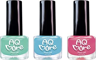 AQMORE Non Toxic Water Based Peel Off Nail Polish – Lasts for Days, GEL Like Shine, Dries in Minutes, Fragrance & Paraben Free, Kid Safe, Great Gift Idea -3 Colors(0.20 fl oz/Bottle)(Lollipop Monster)