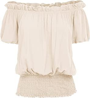 Womens Short Sleeve Ruffle Off Shoulder Boho Blouse Top