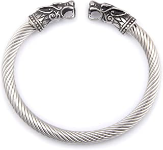BaviPower Handcrafted Wolf Heads Bangle ♦ Flexible ♦ Stainless Steel ♦ Norse Scandinavian Bracelet ♦ Authentic Viking Jewelry