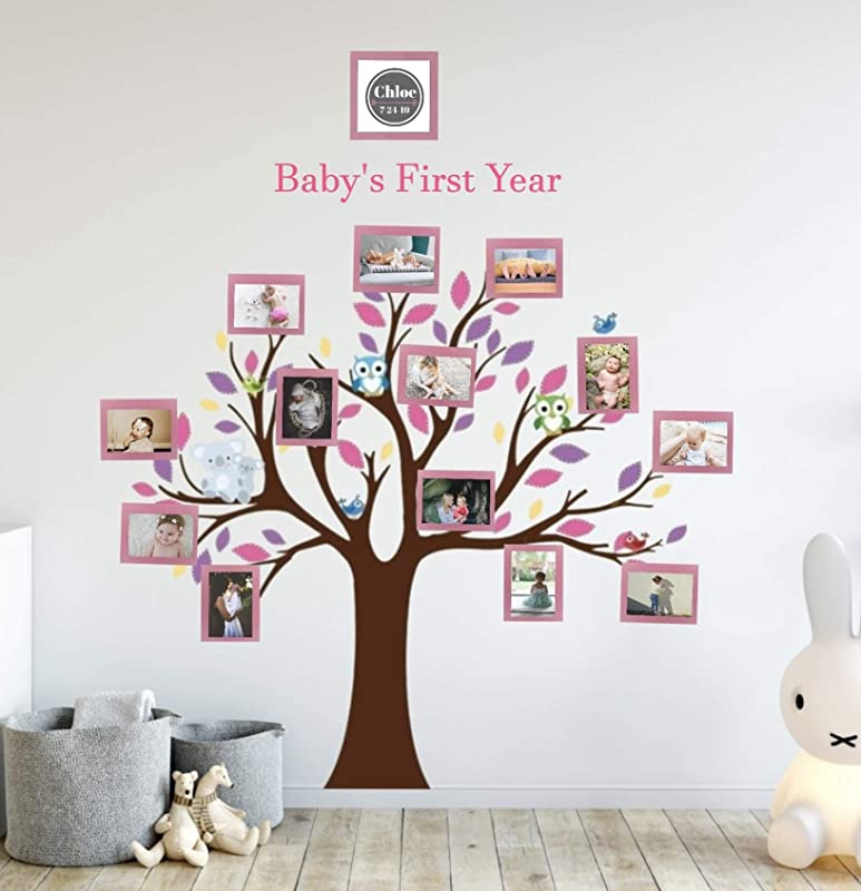 Baby S First Year Photo Tree Wall Decal Nursery Decoration For Girl Or Boy Pink
