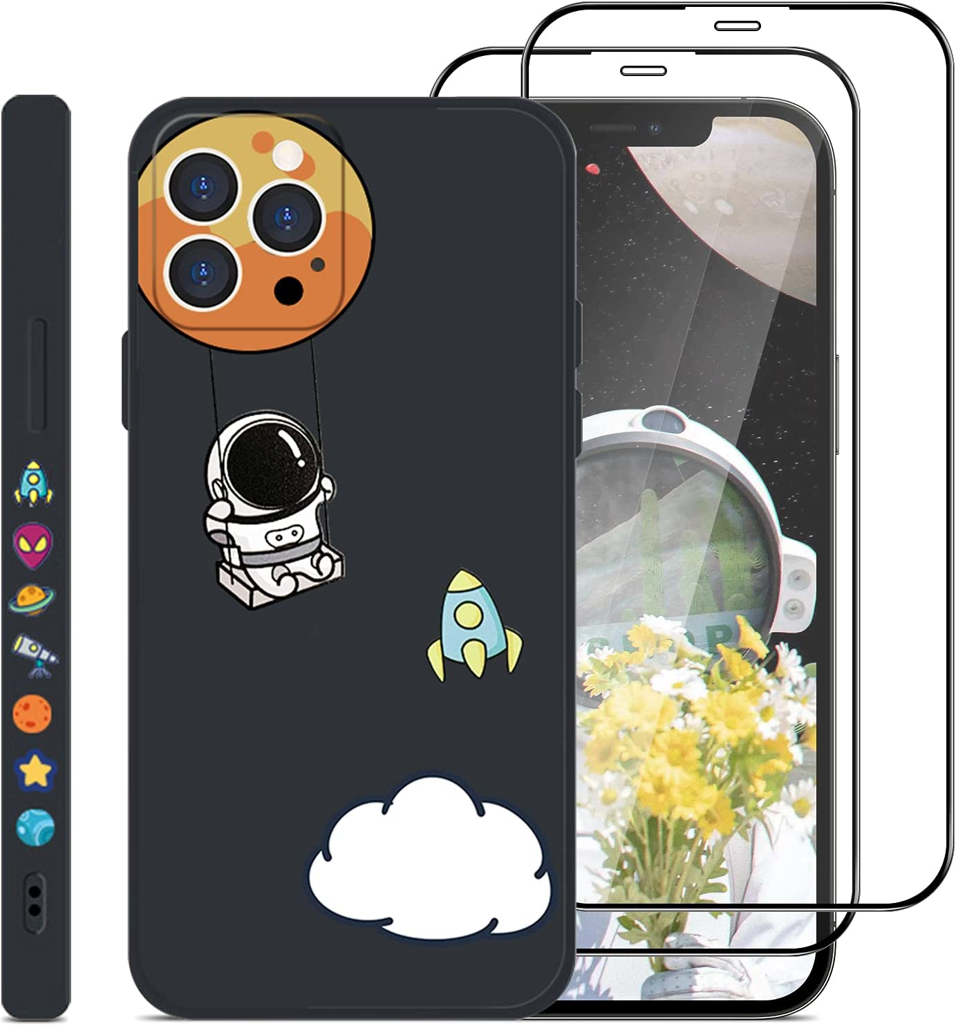 [3p] Jusy Little Astronaut Compatible with iPhone 12 Pro max Case & 2 Tempered Glass Screen Protectors for iPhone 12 promax, Outer Space Universe Cute Cartoon Pattern, Wireless Charging (Black Swing)
