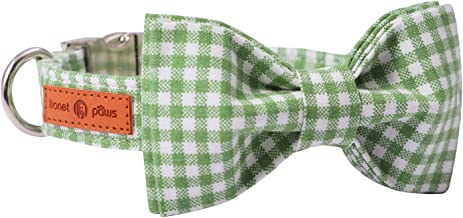 Lionet Paws Dog Collar with Bowtie, Durable Adjustable and Comfortable Cotton Collar for Dogs and Cats