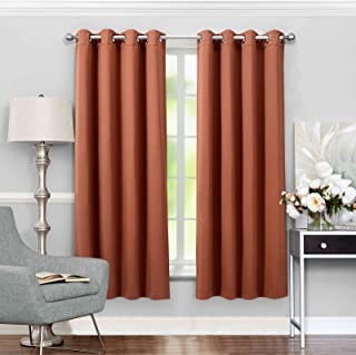 VEEYOO Bedroom Blackout Curtains 2 Panels - Thermal Insulated Room Darkening Curtain with Tiebacks Thick Grommet Window Drapes for Living Room (Rust, 52x84 inch)
