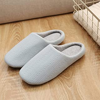 Soft Bottom Non-Slip Home Slippers Men's Indoor Floor Cotton Linen Mop Couple Mute Cotton Slippers Warmer Soft Plush Home Shoes (Color : Sky-Blue, Size : 38-39)