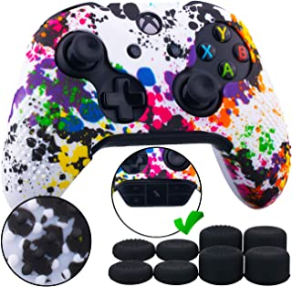 9CDeer Studded Protective Customize Transfer Printing Silicone Cover Skin Sleeve Case + 8 Thumb Grips Analog Caps for Xbox One/S/X Controller Splashing Graffiti Compatible with Official Stereo Headset