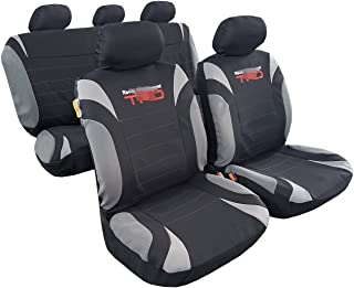 ITAILORMAKER Car seat Covers Full Set w.5 Detachable Headrests and Split Rear Bench-Gray Black Color-Breathable Poly Cotton Embroidery Airbag Compatible-Fit Most Car Truck SUV Van