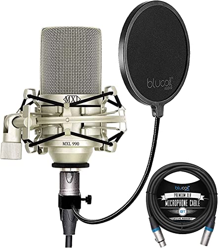 new arrival MXL 990 Cardioid Condenser Microphone for Podcasts, Voiceovers, Vocal and Acoustic discount Instrument Recording Bundle with Blucoil 10-FT Balanced discount XLR Cable, and Pop Filter Windscreen outlet online sale