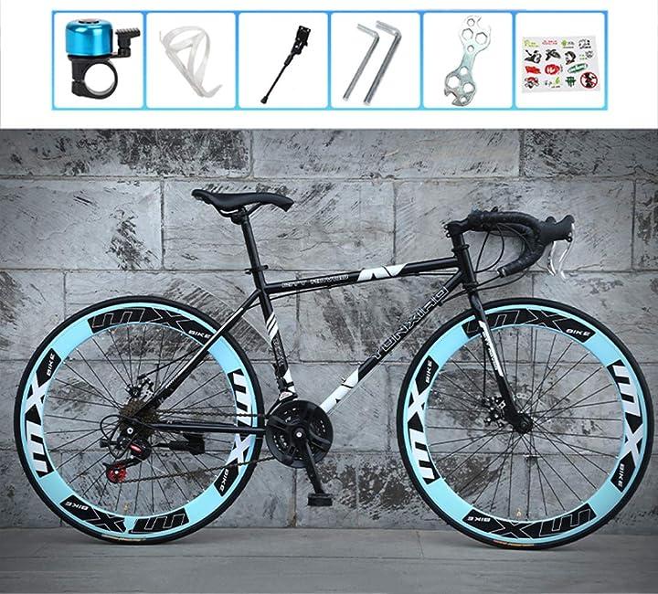 Bici da strada con telaio in carbonio , doppio freno  a disco , 24 velocità , unisex - lcazr B08B3TWW6P