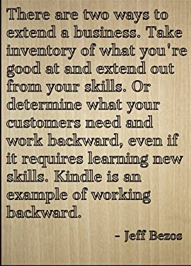 """Mundus Souvenirs There are Two Ways to Extend a Business. Quote by Jeff Bezos, Laser Engraved on Wooden Plaque - Size: 8""""x10"""""""