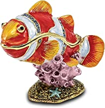 Saris and Things Bejeweled Clown Fish Trinket Box with Charm Pendant