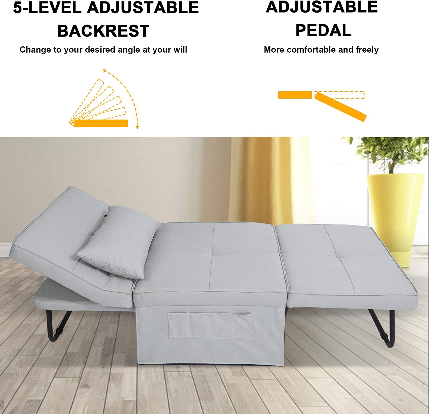 Convertible Chair Sleeper Bed,Sofa Chair Bed Sleeper,Folding Ottoman Sleeper Guest Bed,4 in 1 /Multi-Function Sofa Bed for Small Space,Easy to Adjust from Ottoman to Chair to Chaise to Bed,Light Grey
