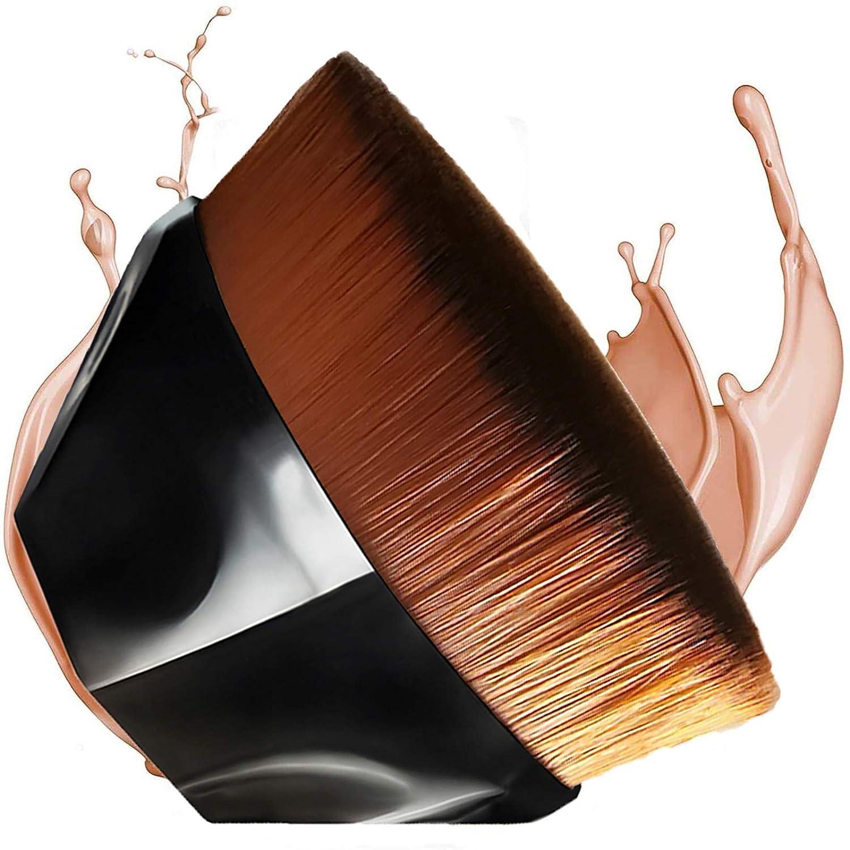 Flawless Foundation Brush for Liquid Makeup,Kabuki Blending Momma Makeup Brush for Powder with Travel Case,BobiBron Flat Top Petal Shaped Base Makeup Brush (Black)