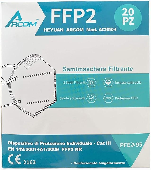 Mascherine ffp2 - certificate ce - 20 pezzi - arcom