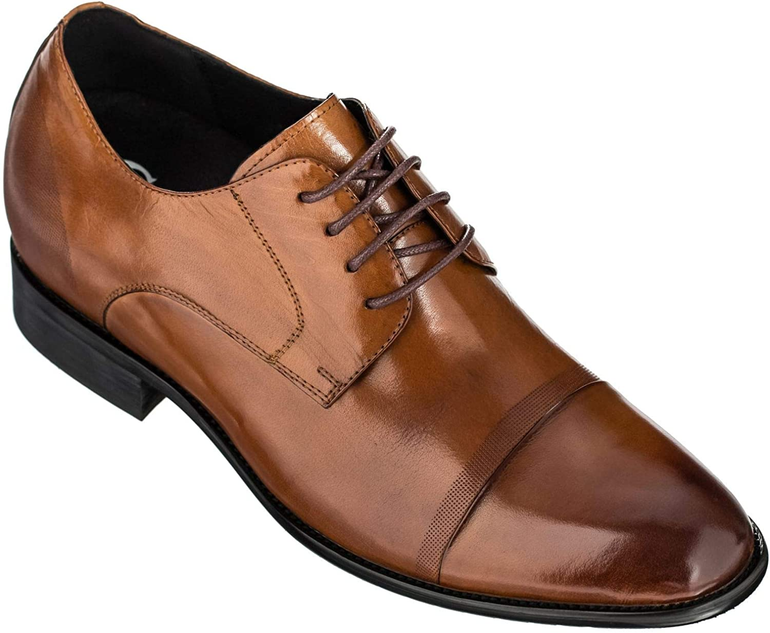 CALTO Men's Invisible Height Increasing Elevator Shoes - Premium Leather Lace-up Formal Oxfords - 2.8 Inches Taller