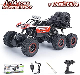 RC Truck Remote Control Car 1:14 Scale Off Road Vehicle Hobby RC Crawlers with Rechargeable Battery & Dual Motors, RED RC Outdoor CAR for Adults