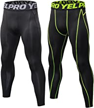 SILKWORLD Men's 2 pack Compression Pants Baselayer Cool Dry Sports Tights LeggingsBlack+GreenBlackUS S
