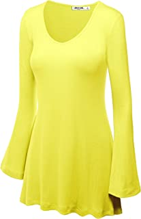 LL Womens Solid/Dip Dye V Neck Long Bell Sleeves Tunic Top Blouse - Made in USA