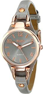 Women's Analog Watch with Rose Gold-Tone Case, Gray Sunray Dial, Narrow Gray Leather Strap - Official XOXO Woman's Rose-Gold Watch - Model: XO3400