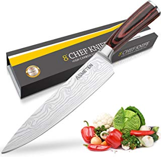 Asmeten Chef knife Kitchen Knife 8 Inch, Professional Chefs Knife, Powder Steel, Best Value With Exquisite Packaging, Ultra Sharp Cooking Knife (High Carbon Steel 2)