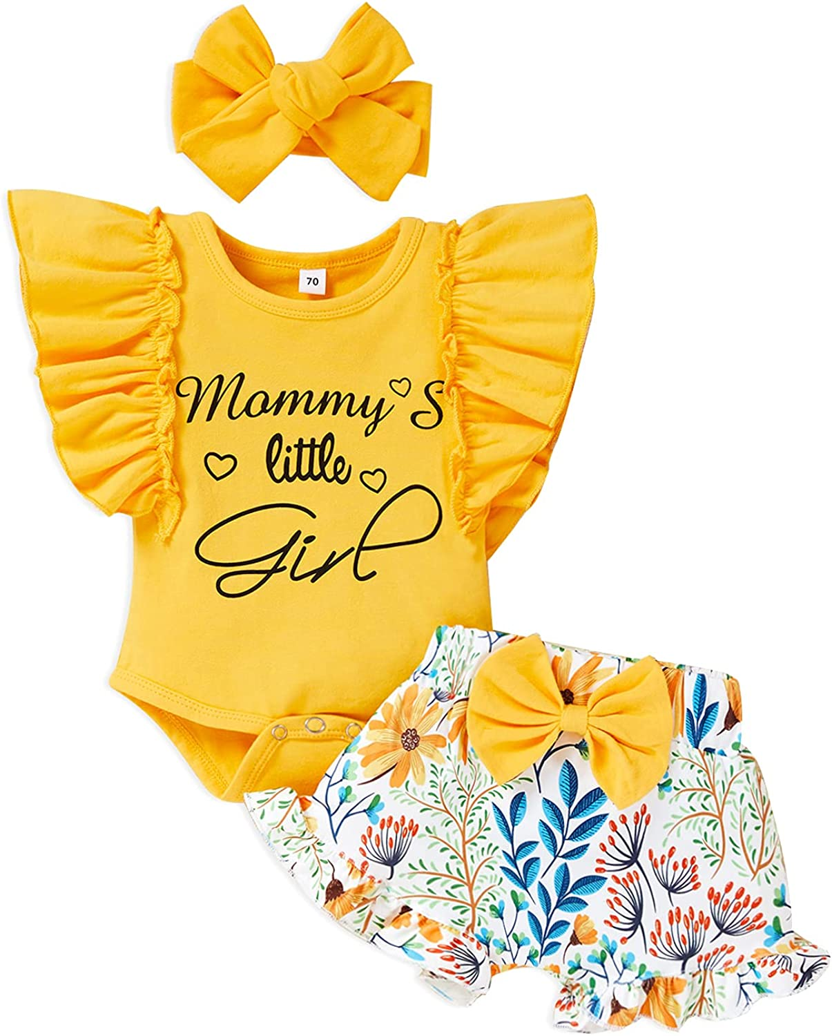 Baby Girls Clothes Full Flower Print Ruffles Romper Bodysuit+ Solid Color Pants+Headband 3pcs Summer Outfits