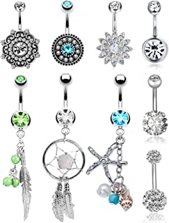 FIBO STEEL 9-10 Pcs Dangle Belly Button Rings for Women 316L Surgical Steel Curved Navel Barbell Body Jewelry Piercing