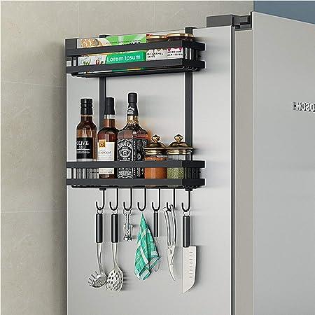 DaiWeier Étagère Réfrigérateur 2 couches Étagère à Épices Avec 6 crochets,48.5x40x9.2 cm Idéal pour le rangement de la cuisine