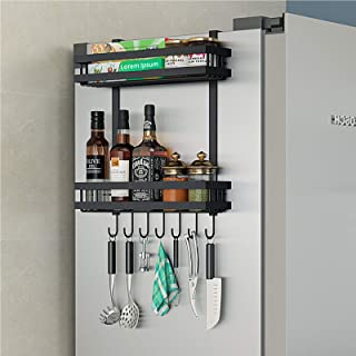 DaiWeier Étagère Réfrigérateur 2 couches Étagère à Épices Avec 6 crochets,48.5x40x9.2 cm Idéal pour le rangement de la cui...