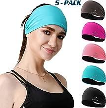 DASUTA 5 Pack Non-Slip Headband for Women Men Girls Boys - Moisture Wicking Silicone Wide Sweatband & Elastic Sports Headbands for Workout, Yoga, Running, Fitness, Bike, Hair Head Band Set with Box
